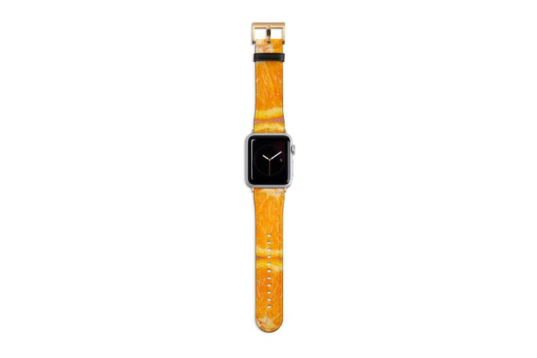 For Apple Watch Band 40mm/38mm PU Leather Gold Lugs  Sliced Oranges