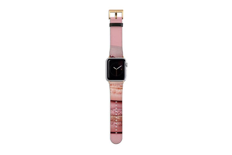 For Apple Watch Band 40mm/38mm PU Leather Gold Lugs  Pink Macarons