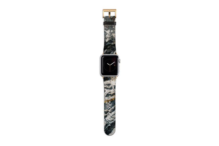 For Apple Watch Band 40mm/38mm PU Leather Gold Lugs  Stone Pattern
