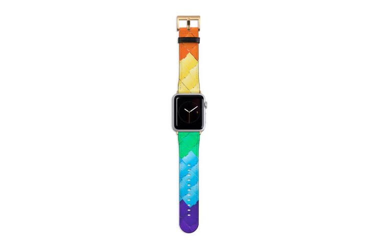 For Apple Watch Band 40mm/38mm PU Leather Gold Lugs  Textured Rainbow