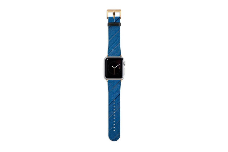 For Apple Watch Band 40mm/38mm PU Leather Gold Lugs  Blue Wood Cladding