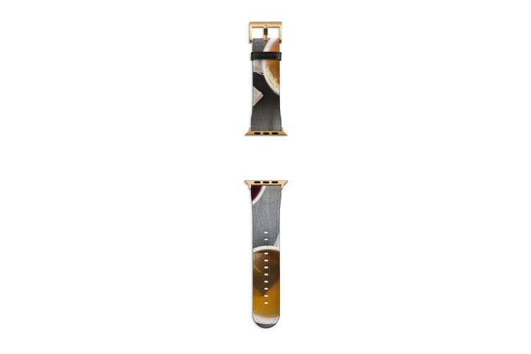 For Apple Watch Band 40mm/38mm PU Leather Gold Lugs  Tea Steeping