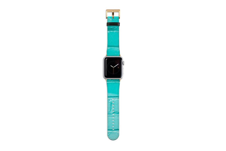 For Apple Watch Band 40mm/38mm PU Leather Gold Lugs  Turquoise Brick Wall