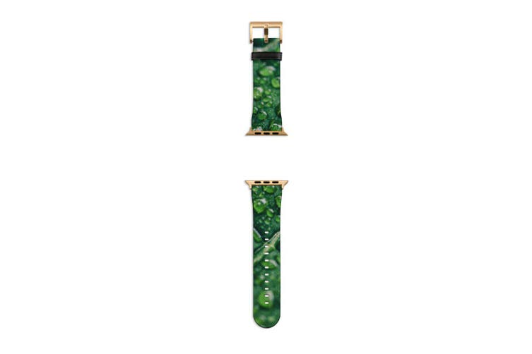 For Apple Watch Band 40mm/38mm PU Leather Gold Lugs  Water Drops Leaf