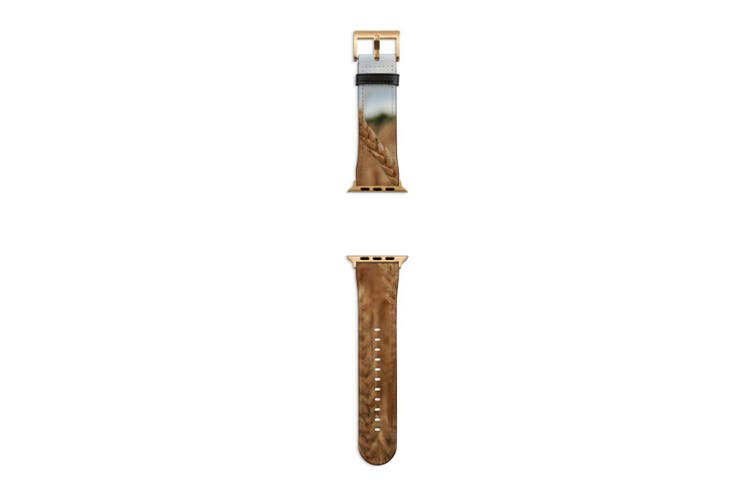 For Apple Watch Band 40mm/38mm PU Leather Gold Lugs  Wheat Field