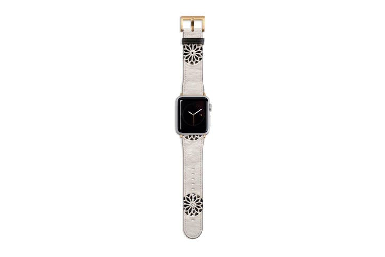 For Apple Watch Band 40mm/38mm PU Leather Gold Lugs  White Wall Flower