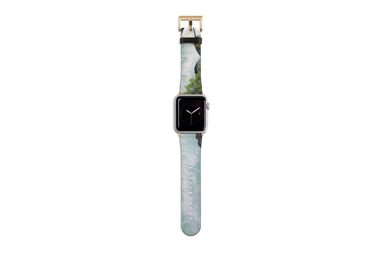 For Apple Watch Band 40mm/38mm PU Leather Gold Lugs  White Water River