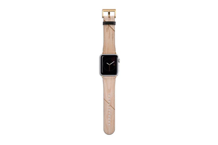 For Apple Watch Band 40mm/38mm PU Leather Gold Lugs  Wooden Effect