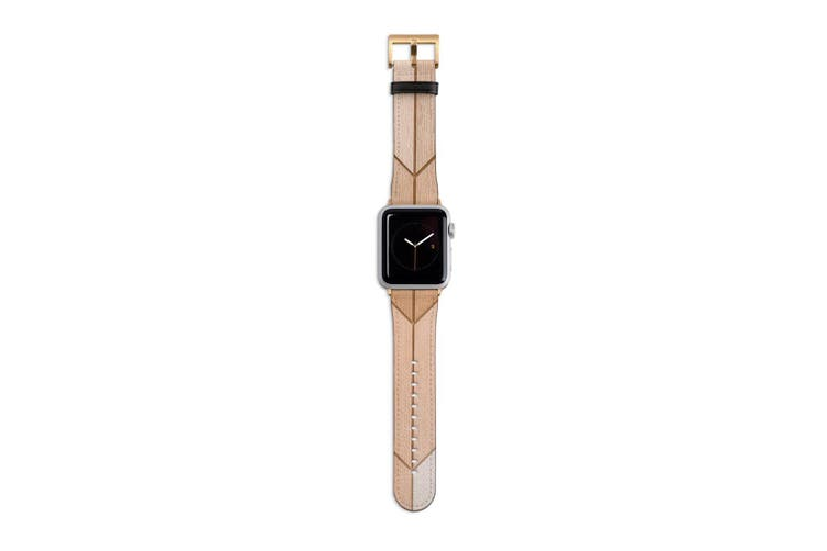 For Apple Watch Band 40mm/38mm PU Leather Gold Lugs  Wooden Effect Tiles