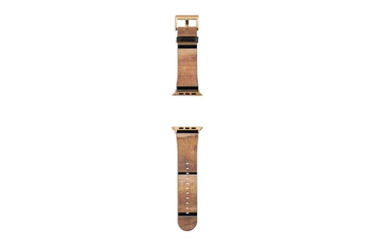 For Apple Watch Band 40mm/38mm PU Leather Gold Lugs  Wooden Table Texture