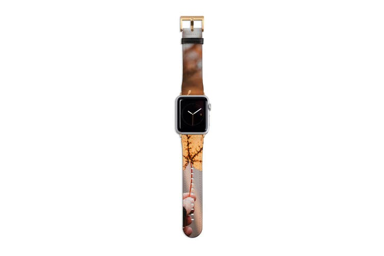 For Apple Watch Band 40mm/38mm PU Leather Gold Lugs  Yellow Maple Leaf