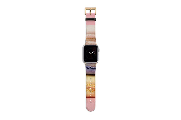 For Apple Watch Band 40mm/38mm PU Leather Gold Lugs  Colourful Macarons