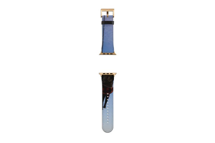 For Apple Watch Band 40mm/38mm PU Leather Gold Lugs  Swing to the Sky