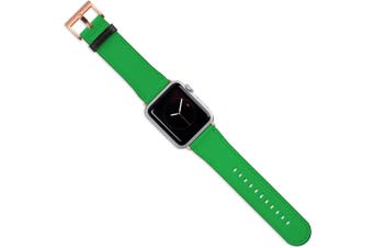 For Apple Watch Band (40 38mm) Vegan Leather Strap Rose Gold Buckle iWatch Green
