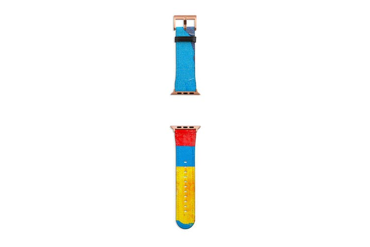 For Apple Watch Band 40mm/38mm PU Leather Rose Gold Lugs  Blue Red Yellow