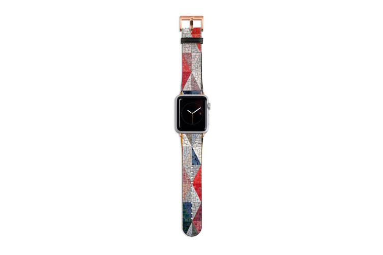 For Apple Watch Band 40mm/38mm PU Leather Rose Gold Lugs  Glass Wall