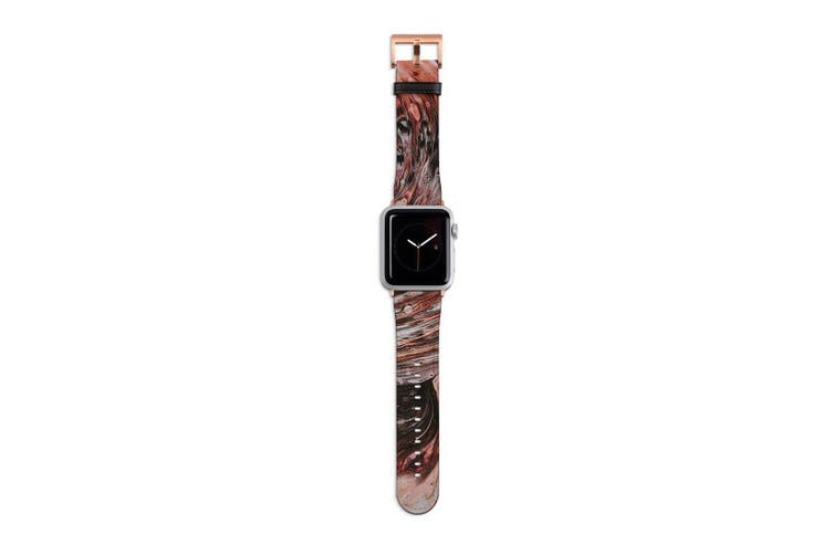 For Apple Watch Band 40mm/38mm PU Leather Rose Gold Lugs  Splash Paint