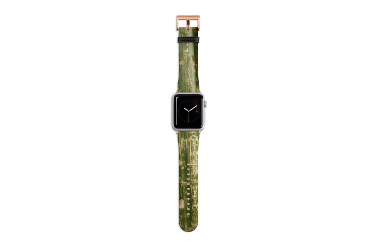 For Apple Watch Band 40mm/38mm PU Leather Rose Gold Lugs  Bamboo With Engravings