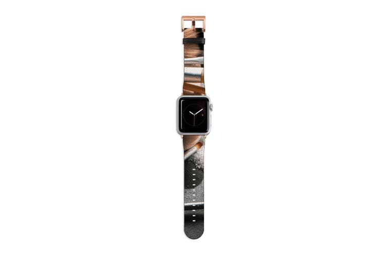For Apple Watch Band 40mm/38mm PU Leather Rose Gold Lugs  Beauty Set