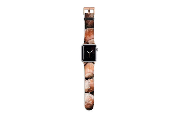 For Apple Watch Band 40mm/38mm PU Leather Rose Gold Lugs  Chestnuts Texture