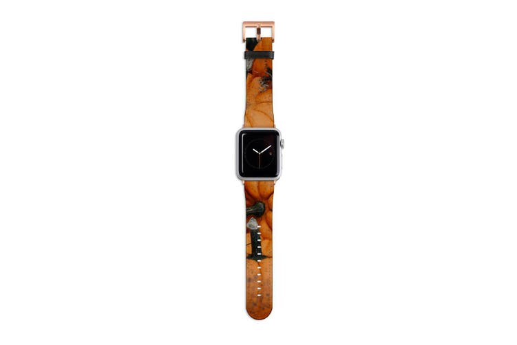 For Apple Watch Band 40mm/38mm PU Leather Rose Gold Lugs  Pumpkin Pile