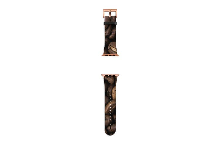 For Apple Watch Band 40mm/38mm PU Leather Rose Gold Lugs  Coffee Beans