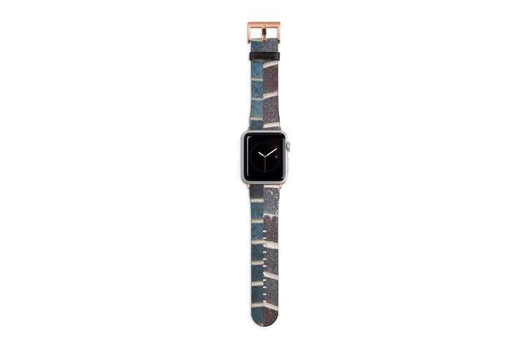 For Apple Watch Band 40mm/38mm PU Leather Rose Gold Lugs  Dark Brick Texture