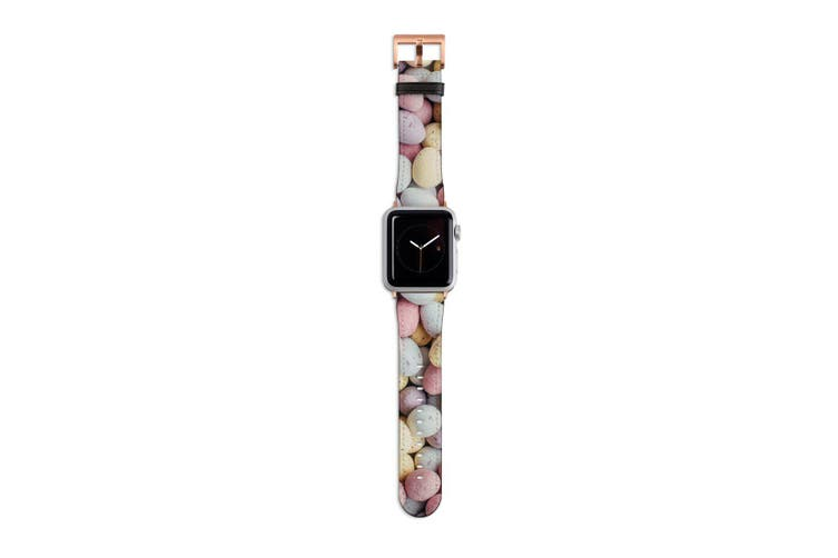 For Apple Watch Band 40mm/38mm PU Leather Rose Gold Lugs  Egg Shaped Stones