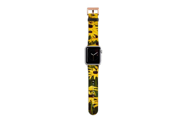 For Apple Watch Band 40mm/38mm PU Leather Rose Gold Lugs  Field Daisies