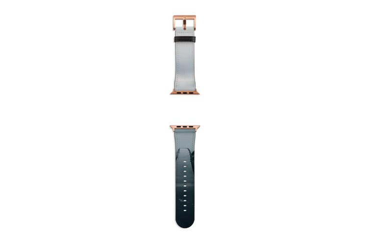 For Apple Watch Band 40mm/38mm PU Leather Rose Gold Lugs  Fog Dark Edge