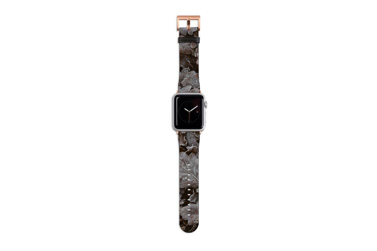 For Apple Watch Band 40mm/38mm PU Leather Rose Gold Lugs  Frozen Forest Leaves