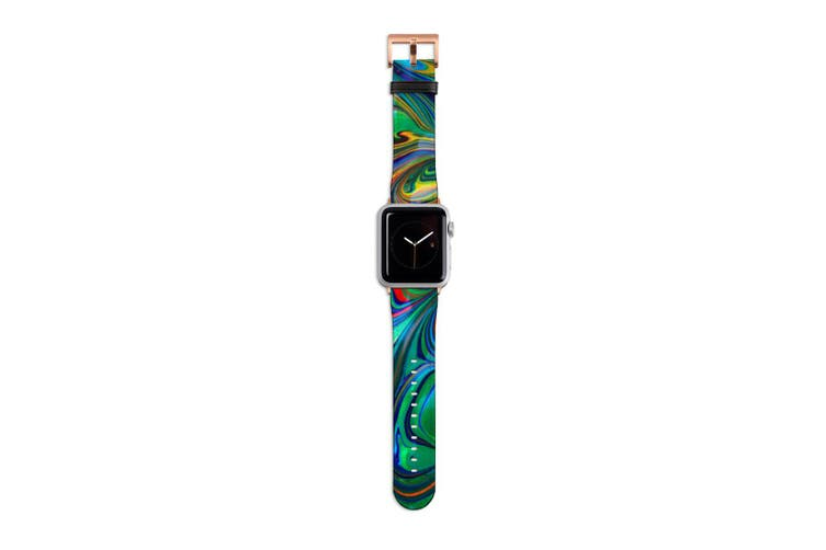 For Apple Watch Band 40mm/38mm PU Leather Rose Gold Lugs  Green Flowing Rainbow