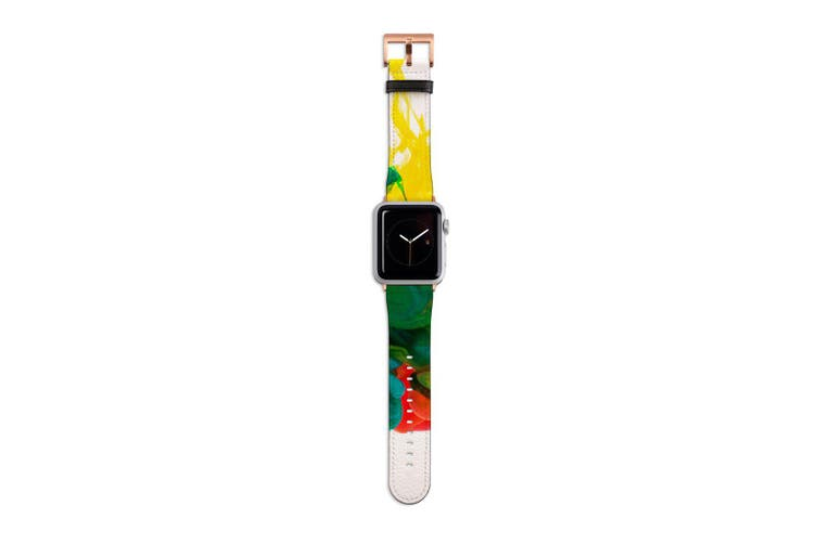 For Apple Watch Band 40mm/38mm PU Leather Rose Gold Lugs  Colorful Ink