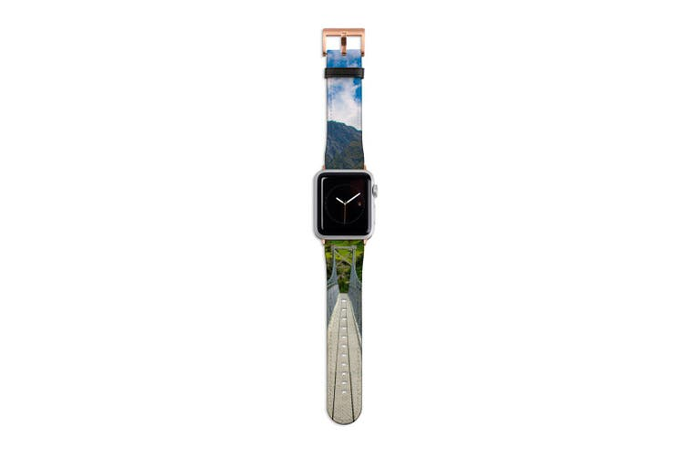 For Apple Watch Band 40mm/38mm PU Leather Rose Gold Lugs  Hanging Bridge