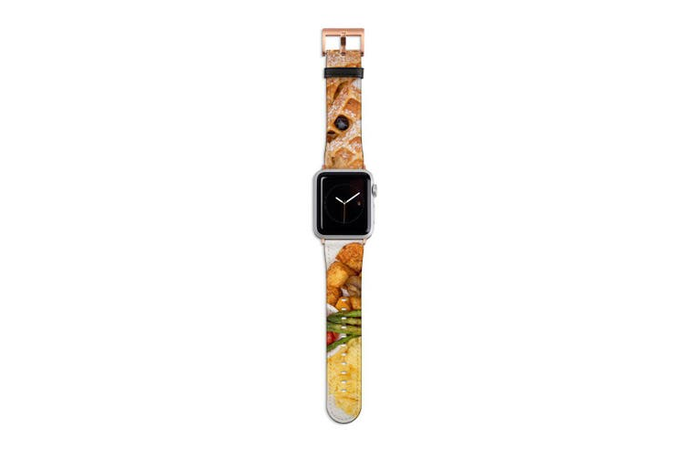 For Apple Watch Band 40mm/38mm PU Leather Rose Gold Lugs  Hotel Breakfast
