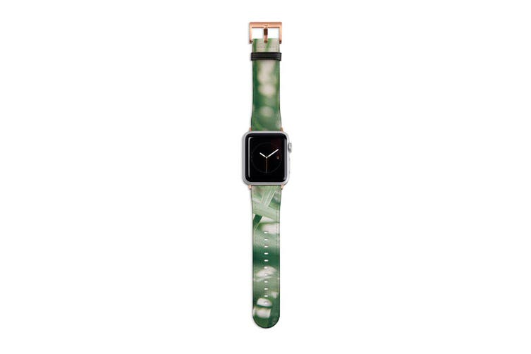 For Apple Watch Band 40mm/38mm PU Leather Rose Gold Lugs  Indoor Green Plant