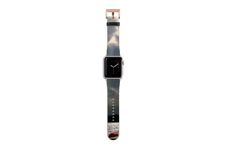 For Apple Watch Band 40mm/38mm PU Leather Rose Gold Lugs  Kayaks Dock