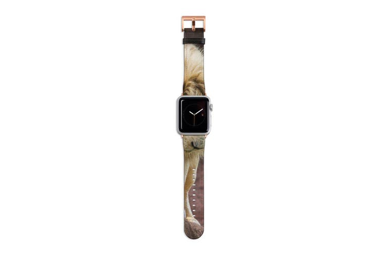 For Apple Watch Band 40mm/38mm PU Leather Rose Gold Lugs  Lion Looking Down