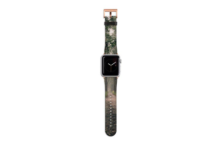 For Apple Watch Band 40mm/38mm PU Leather Rose Gold Lugs  Long Forest Path