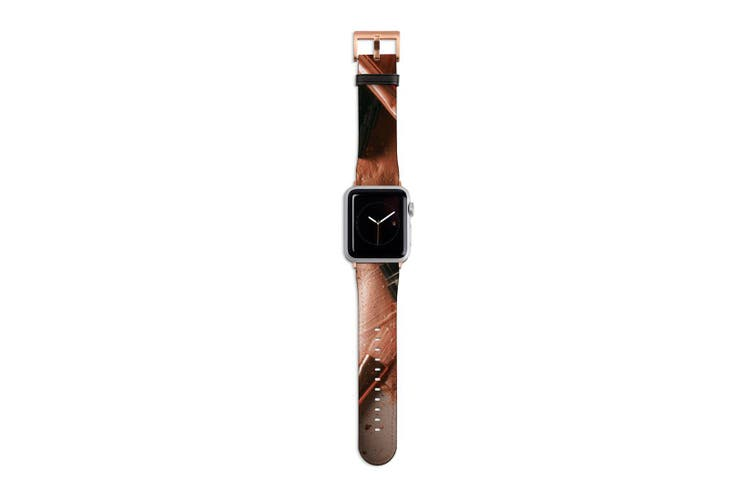 For Apple Watch Band 40mm/38mm PU Leather Rose Gold Lugs  Makeup Beauty Flatlay