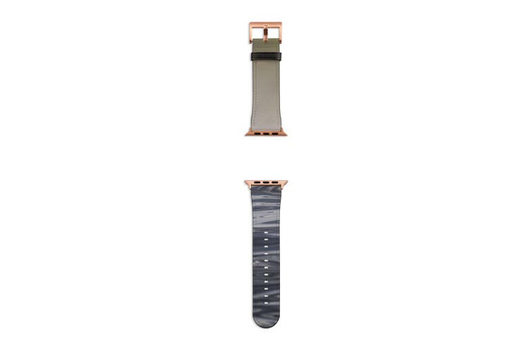For Apple Watch Band 40mm/38mm PU Leather Rose Gold Lugs  Man Canoeing Water
