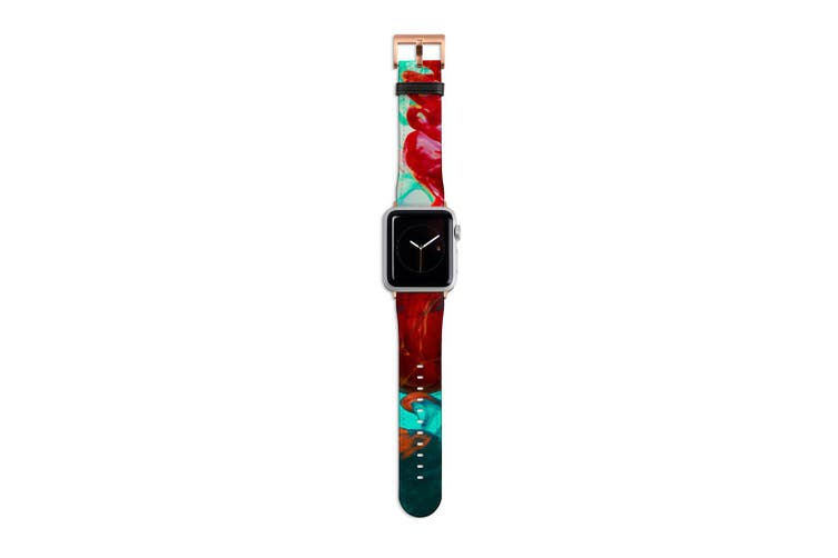 For Apple Watch Band 40mm/38mm PU Leather Rose Gold Lugs  Green Red Ink Drop