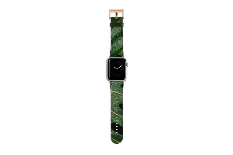 For Apple Watch Band 40mm/38mm PU Leather Rose Gold Lugs  Monstrera Leaf