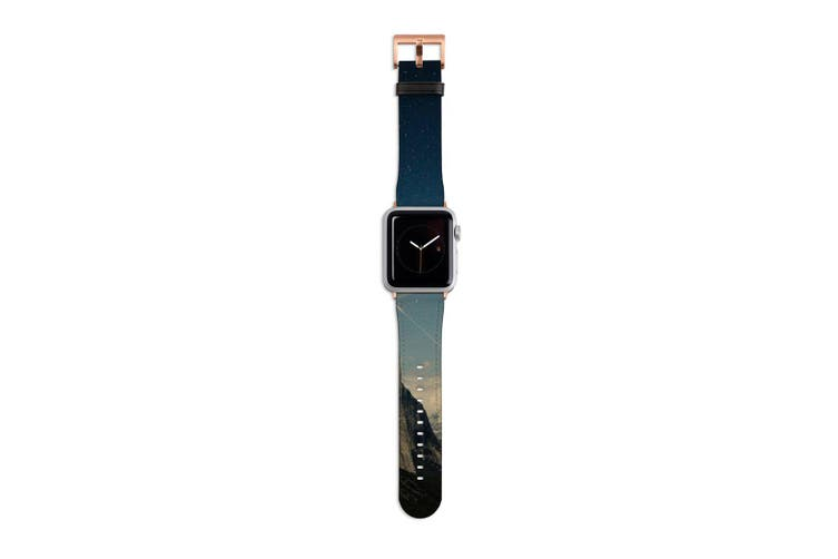 For Apple Watch Band 40mm/38mm PU Leather Rose Gold Lugs  Mountain Magic Hour