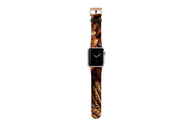 For Apple Watch Band 40mm/38mm PU Leather Rose Gold Lugs  Pecan Nuts