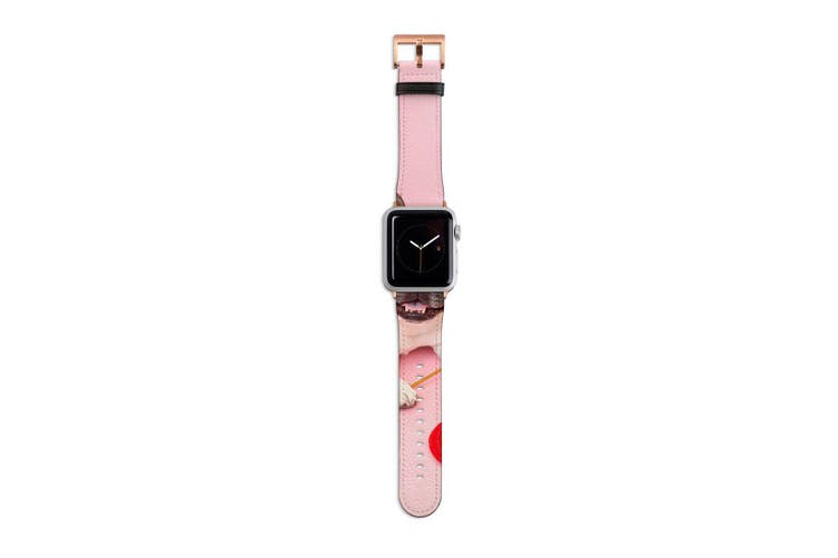 For Apple Watch Band 40mm/38mm PU Leather Rose Gold Lugs  Pug Dog