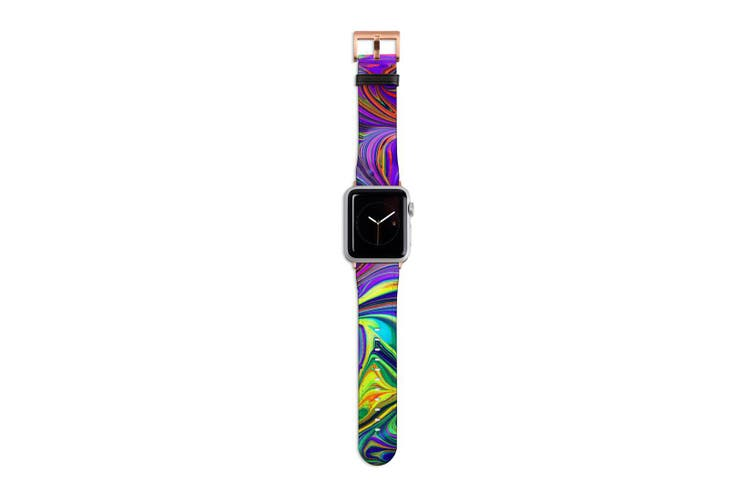 For Apple Watch Band 40mm/38mm PU Leather Rose Gold Lugs  Purple Flowing Rainbow