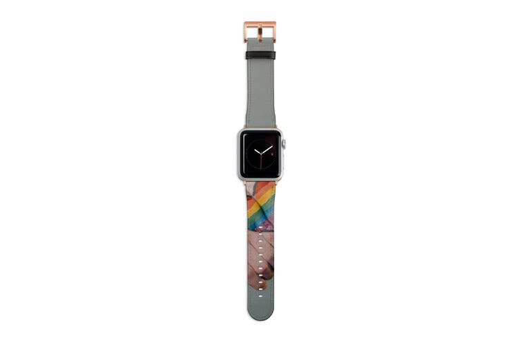 For Apple Watch Band 40mm/38mm PU Leather Rose Gold Lugs  Rainbow Hands Heart