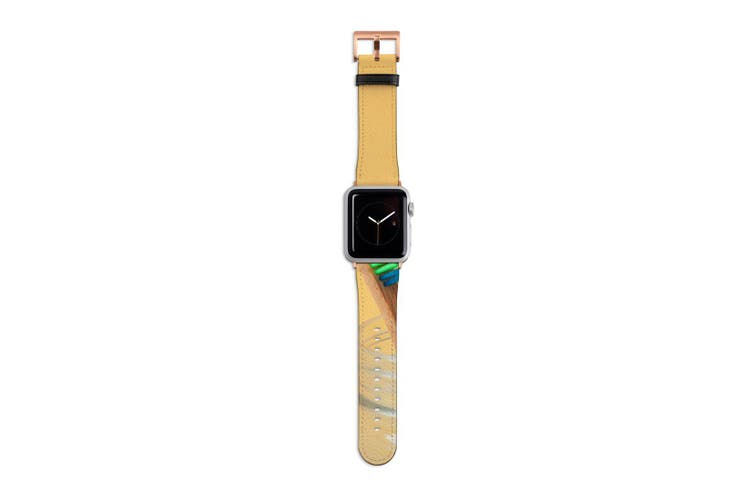 For Apple Watch Band 40mm/38mm PU Leather Rose Gold Lugs  Rainbow Toothbrush