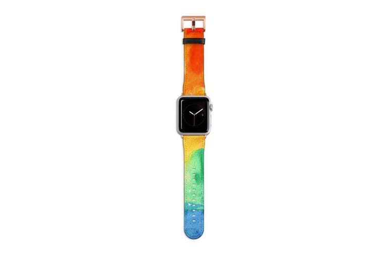 For Apple Watch Band 40mm/38mm PU Leather Rose Gold Lugs  Rainbow Watercolour